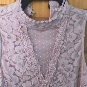hint of mint Tops - Hint Of Mint EUC High Neck Pink Blouse